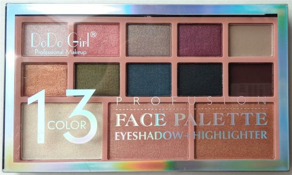 "DoDo Girl Profusion Face Palette 13 Color D3119 ""B"" палета теней для век и хайлайтер 13 цветов"