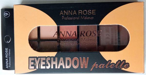 Тени для век и пудра (румяна) ANNA ROSE Eyebrow Powder 6+3 E1857 тон №9 на палетке