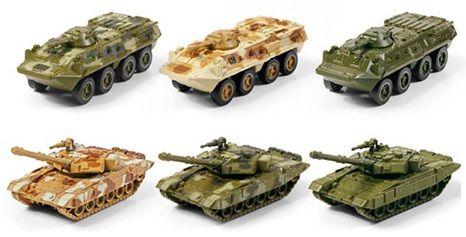 Набор военной техники 1:64 металл БТР-80 и Т-90 из 6 шт