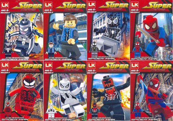 """Набор конструкторов минифигурки LK-266-F серии """"Spider-man"""" из 8 шт"""